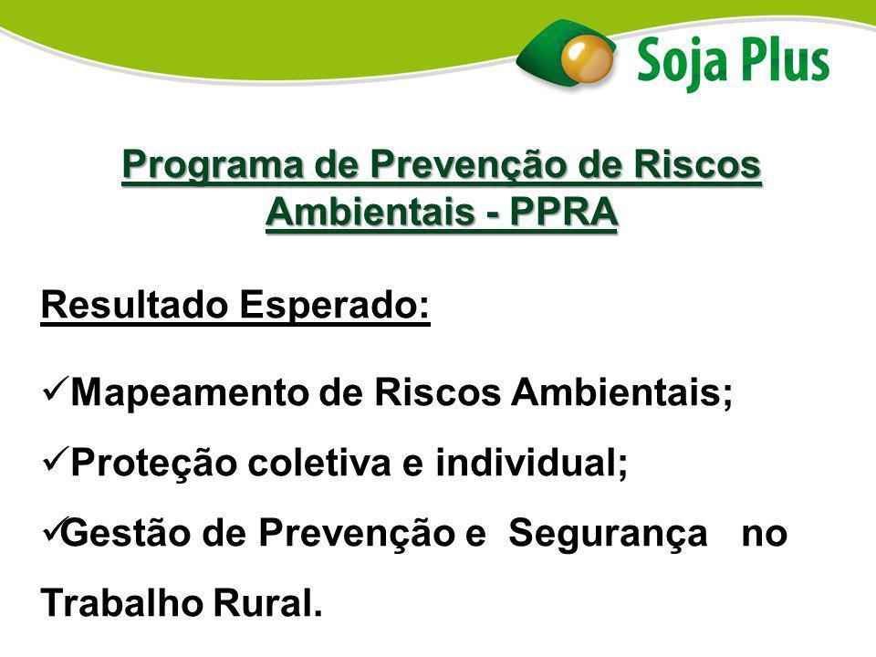 Programa de Prevenção de Riscos Ambientais - PPRA Resultado Esperado: Mapeamento de Riscos Ambientais; Proteção coletiva e individual; Gestão de Preve