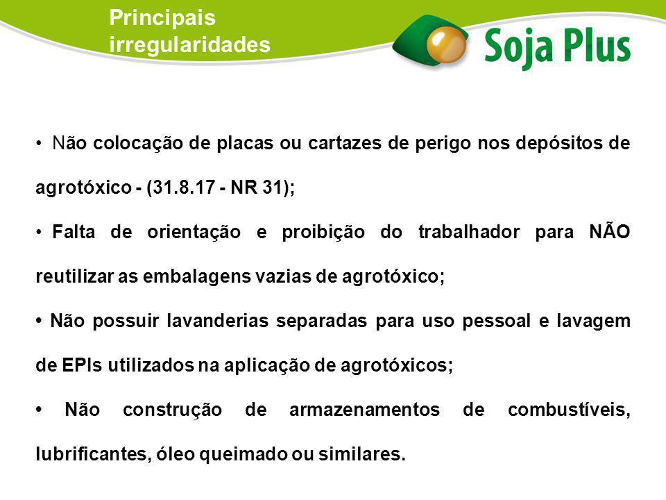 Não colocação de placas ou cartazes de perigo nos depósitos de agrotóxico - (31.8.17 - NR 31); Falta de orientação e proibição do trabalhador para NÃO