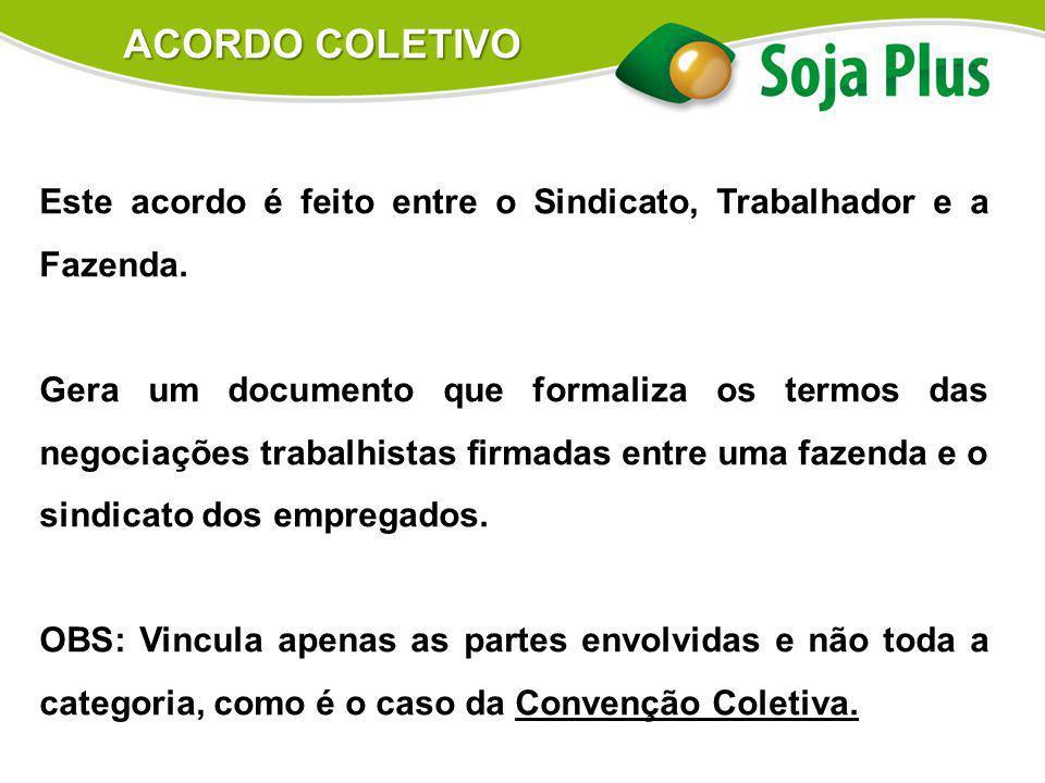 Este acordo é feito entre o Sindicato, Trabalhador e a Fazenda. Gera um documento que formaliza os termos das negociações trabalhistas firmadas entre