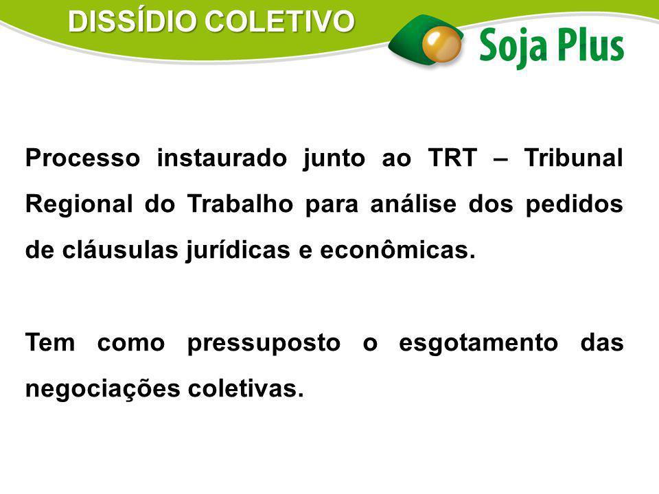 Processo instaurado junto ao TRT – Tribunal Regional do Trabalho para análise dos pedidos de cláusulas jurídicas e econômicas. Tem como pressuposto o