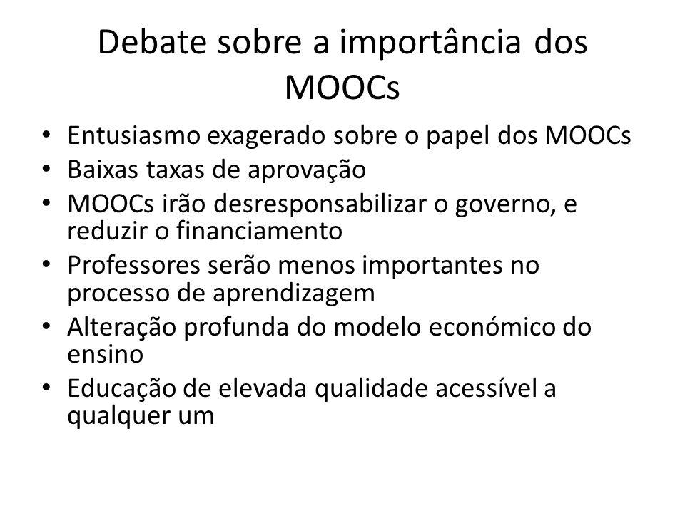Debate sobre a importância dos MOOCs Entusiasmo exagerado sobre o papel dos MOOCs Baixas taxas de aprovação MOOCs irão desresponsabilizar o governo, e reduzir o financiamento Professores serão menos importantes no processo de aprendizagem Alteração profunda do modelo económico do ensino Educação de elevada qualidade acessível a qualquer um
