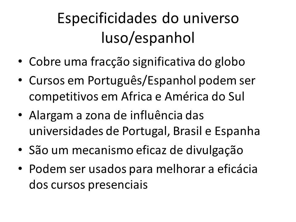 Especificidades do universo luso/espanhol Cobre uma fracção significativa do globo Cursos em Português/Espanhol podem ser competitivos em Africa e Amé
