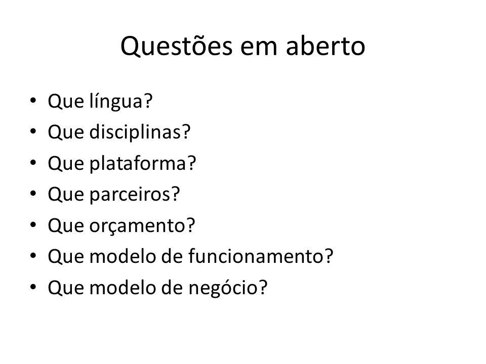 Língua dos MOOCs Usar Português (Espanhol) vs.