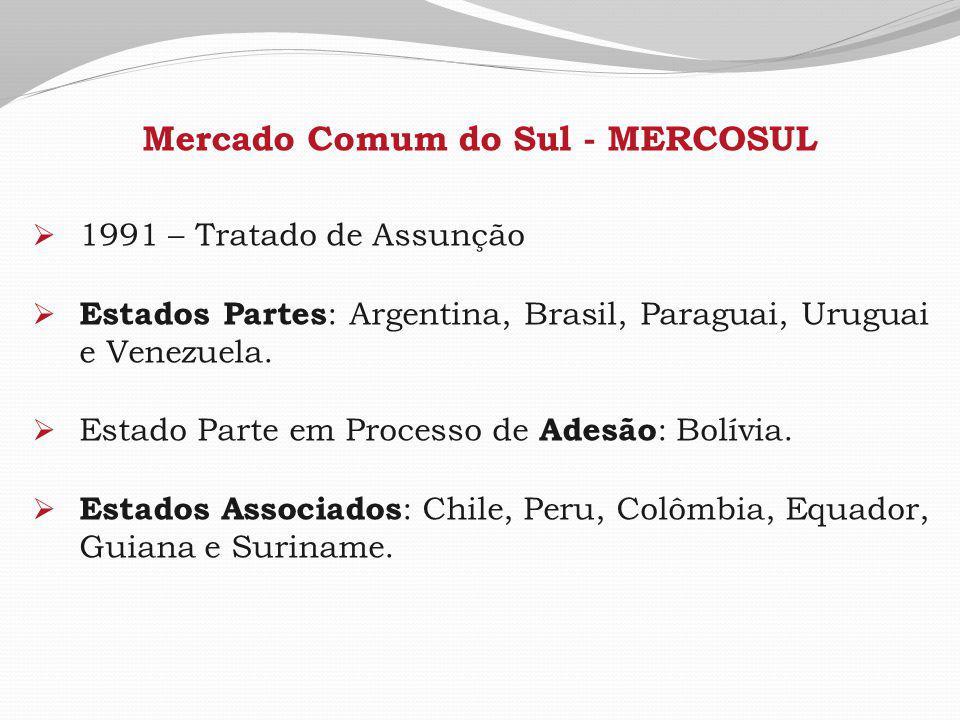 Mercado Comum do Sul - MERCOSUL  1991 – Tratado de Assunção  Estados Partes : Argentina, Brasil, Paraguai, Uruguai e Venezuela.