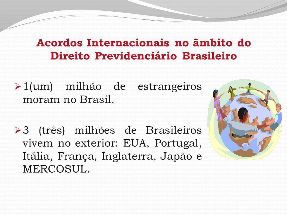 Acordos Internacionais no âmbito do Direito Previdenciário Brasileiro  1(um) milhão de estrangeiros moram no Brasil.