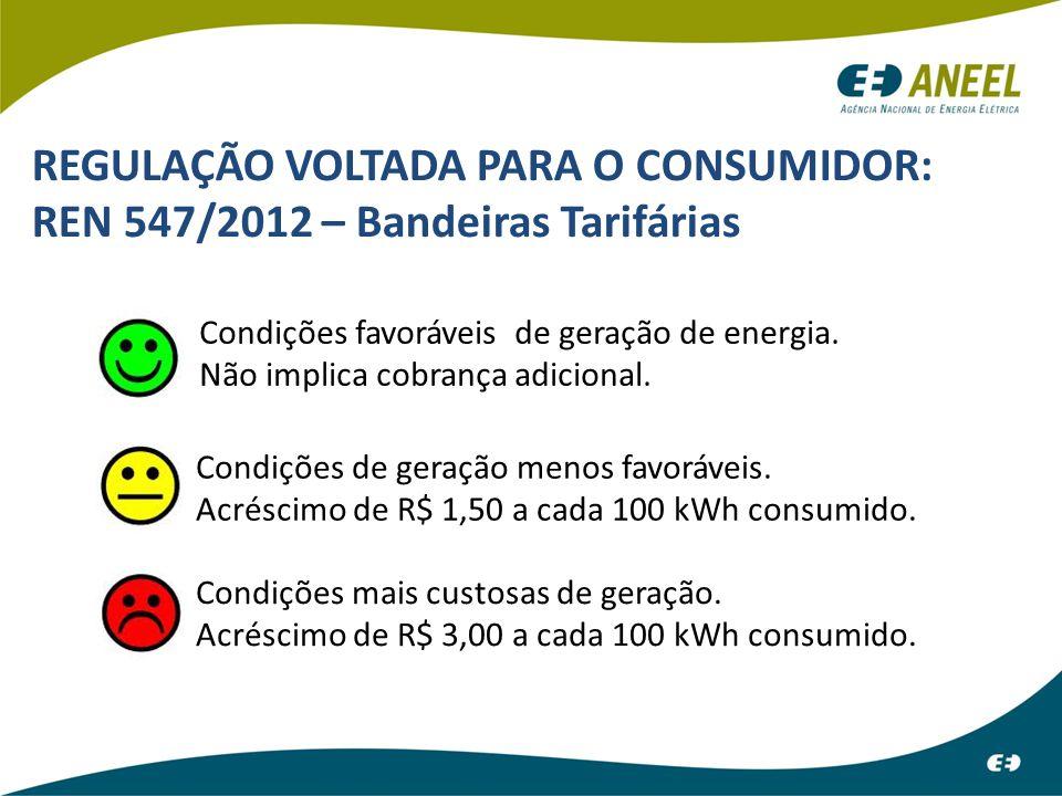 REGULAÇÃO VOLTADA PARA O CONSUMIDOR: REN 547/2012 – Bandeiras Tarifárias Condições favoráveis de geração de energia. Não implica cobrança adicional. C