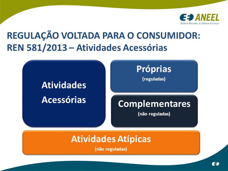 REGULAÇÃO VOLTADA PARA O CONSUMIDOR: REN 581/2013 – Atividades Acessórias Atividades Acessórias Atividades Acessórias Complementares (não reguladas) C