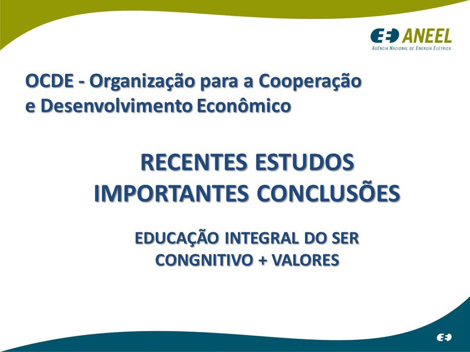 ATENDIMENTO INICIAL OCDE - Organização para a Cooperação e Desenvolvimento Econômico RECENTES ESTUDOS IMPORTANTES CONCLUSÕES EDUCAÇÃO INTEGRAL DO SER