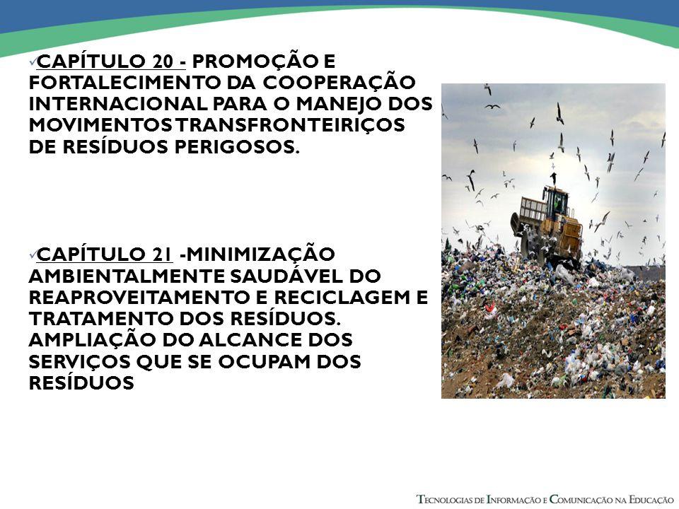 CAPÍTULO 20 - PROMOÇÃO E FORTALECIMENTO DA COOPERAÇÃO INTERNACIONAL PARA O MANEJO DOS MOVIMENTOS TRANSFRONTEIRIÇOS DE RESÍDUOS PERIGOSOS.