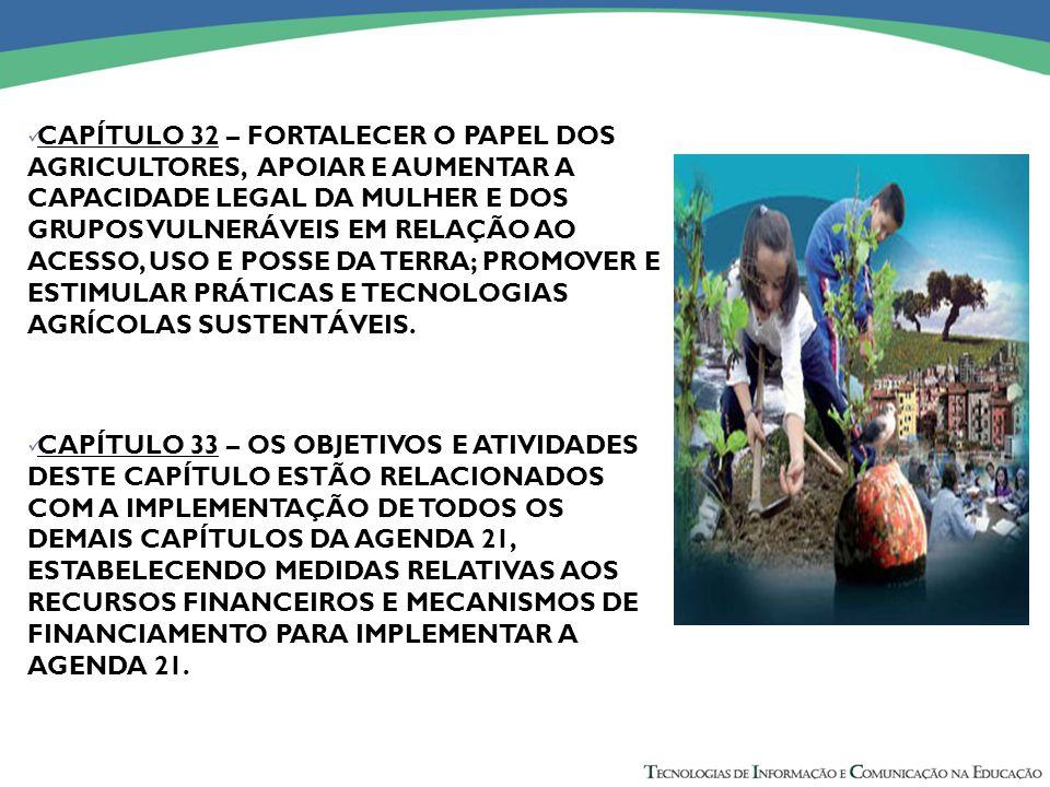CAPÍTULO 32 – FORTALECER O PAPEL DOS AGRICULTORES, APOIAR E AUMENTAR A CAPACIDADE LEGAL DA MULHER E DOS GRUPOS VULNERÁVEIS EM RELAÇÃO AO ACESSO, USO E POSSE DA TERRA; PROMOVER E ESTIMULAR PRÁTICAS E TECNOLOGIAS AGRÍCOLAS SUSTENTÁVEIS.