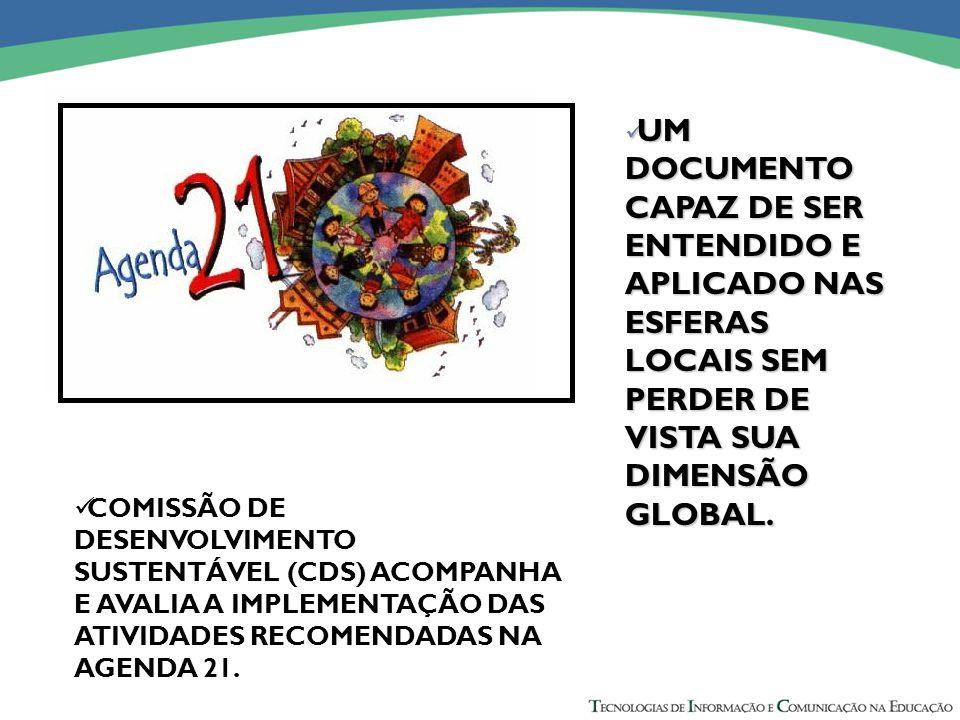 COMISSÃO DE DESENVOLVIMENTO SUSTENTÁVEL (CDS) ACOMPANHA E AVALIA A IMPLEMENTAÇÃO DAS ATIVIDADES RECOMENDADAS NA AGENDA 21.