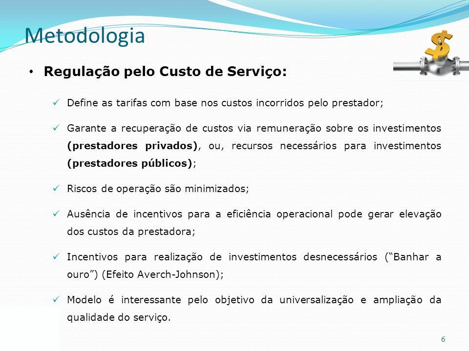 6 Metodologia Regulação pelo Custo de Serviço: Define as tarifas com base nos custos incorridos pelo prestador; Garante a recuperação de custos via re
