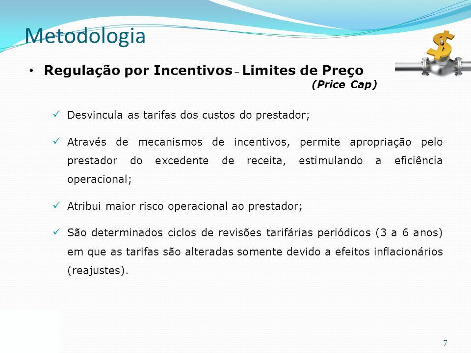 7 Metodologia Regulação por Incentivos – Limites de Preço (Price Cap) Desvincula as tarifas dos custos do prestador; Através de mecanismos de incentiv