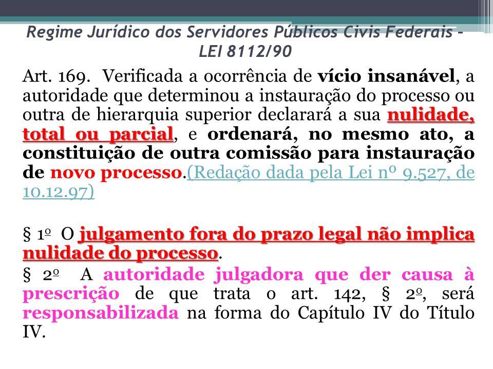 Regime Jurídico dos Servidores Públicos Civis Federais – LEI 8112/90 nulidade, total ou parcial Art. 169. Verificada a ocorrência de vício insanável,