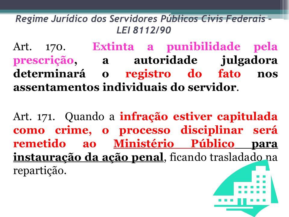 Regime Jurídico dos Servidores Públicos Civis Federais – LEI 8112/90 Art. 170. Extinta a punibilidade pela prescrição, a autoridade julgadora determin