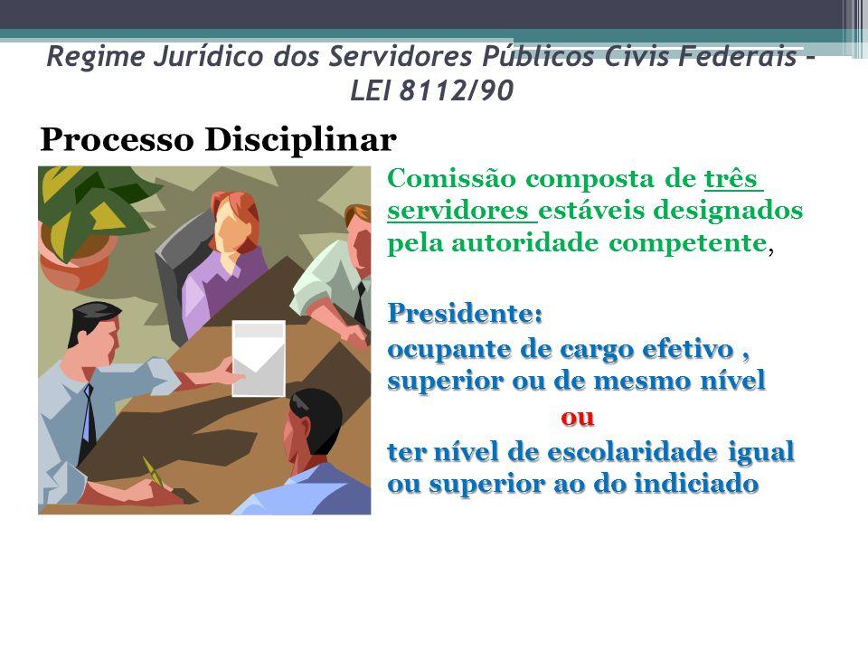Regime Jurídico dos Servidores Públicos Civis Federais – LEI 8112/90 Processo Disciplinar Comissão composta de três servidores estáveis designados pel