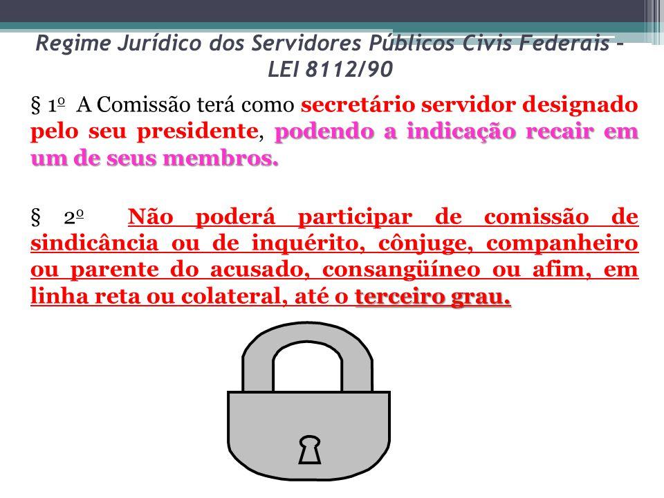 Regime Jurídico dos Servidores Públicos Civis Federais – LEI 8112/90 podendo a indicação recair em um de seus membros. § 1 o A Comissão terá como secr