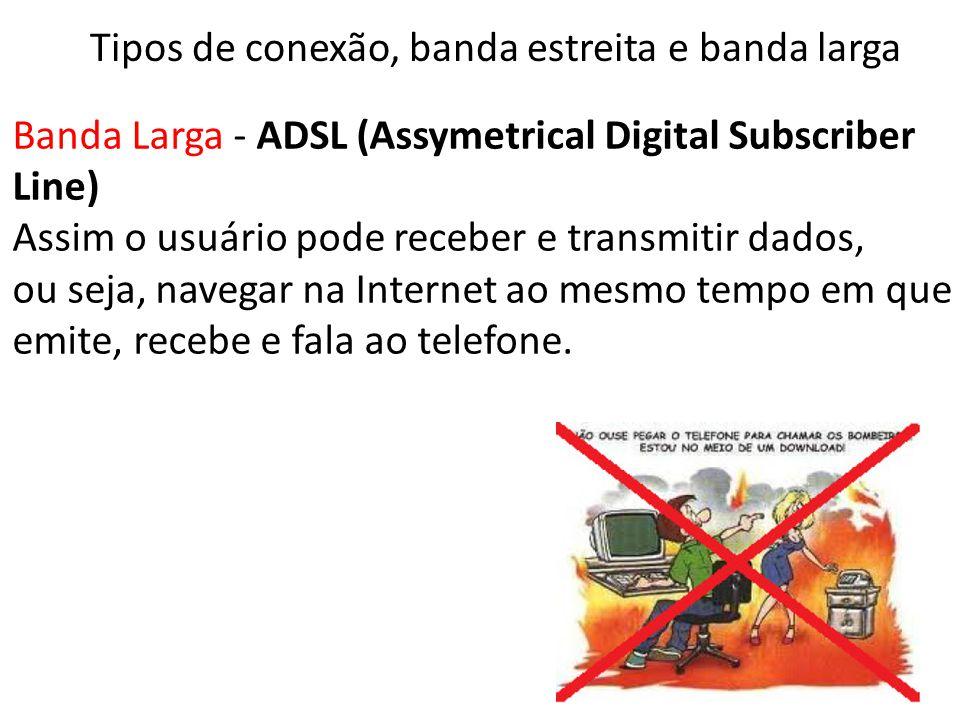 Banda Larga - ADSL (Assymetrical Digital Subscriber Line) Assim o usuário pode receber e transmitir dados, ou seja, navegar na Internet ao mesmo tempo em que emite, recebe e fala ao telefone.