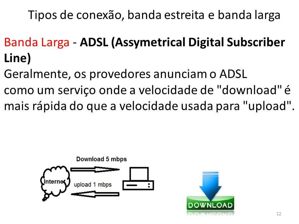 Banda Larga - ADSL (Assymetrical Digital Subscriber Line) Geralmente, os provedores anunciam o ADSL como um serviço onde a velocidade de download é mais rápida do que a velocidade usada para upload .