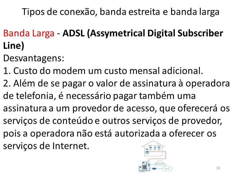 Banda Larga - ADSL (Assymetrical Digital Subscriber Line) Desvantagens: 1. Custo do modem um custo mensal adicional. 2. Além de se pagar o valor de as