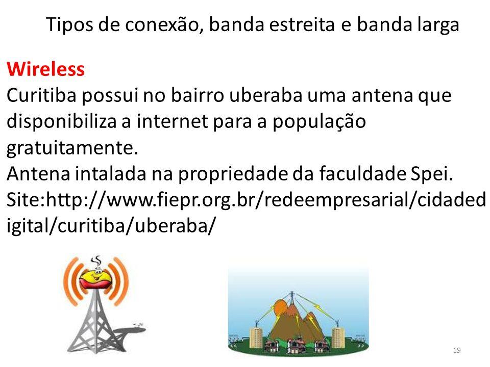 Wireless Curitiba possui no bairro uberaba uma antena que disponibiliza a internet para a população gratuitamente. Antena intalada na propriedade da f