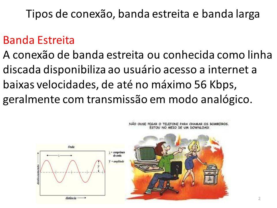 Banda Estreita A conexão de banda estreita ou conhecida como linha discada disponibiliza ao usuário acesso a internet a baixas velocidades, de até no máximo 56 Kbps, geralmente com transmissão em modo analógico.