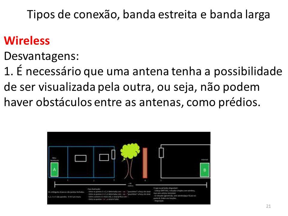 Wireless Desvantagens: 1. É necessário que uma antena tenha a possibilidade de ser visualizada pela outra, ou seja, não podem haver obstáculos entre a
