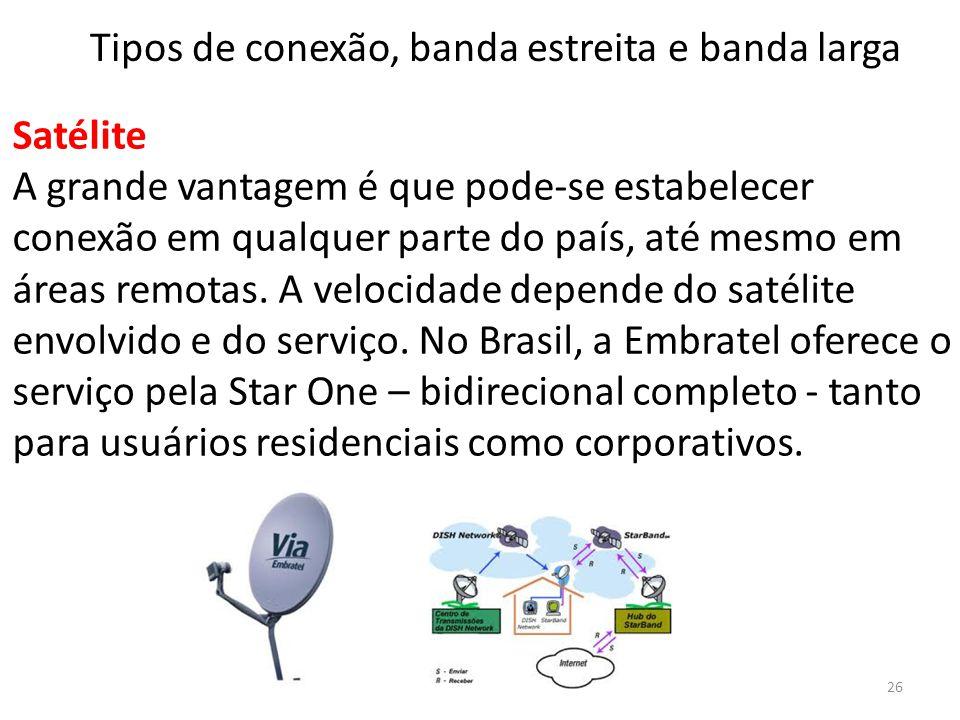 Satélite A grande vantagem é que pode-se estabelecer conexão em qualquer parte do país, até mesmo em áreas remotas. A velocidade depende do satélite e