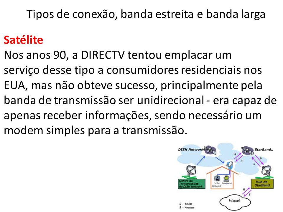 Satélite Nos anos 90, a DIRECTV tentou emplacar um serviço desse tipo a consumidores residenciais nos EUA, mas não obteve sucesso, principalmente pela banda de transmissão ser unidirecional - era capaz de apenas receber informações, sendo necessário um modem simples para a transmissão.