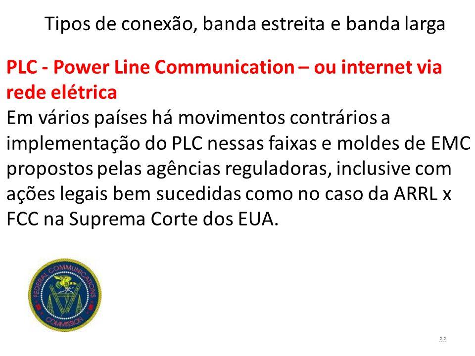PLC - Power Line Communication – ou internet via rede elétrica Em vários países há movimentos contrários a implementação do PLC nessas faixas e moldes de EMC propostos pelas agências reguladoras, inclusive com ações legais bem sucedidas como no caso da ARRL x FCC na Suprema Corte dos EUA.