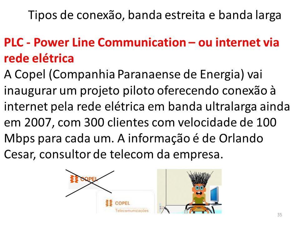 PLC - Power Line Communication – ou internet via rede elétrica A Copel (Companhia Paranaense de Energia) vai inaugurar um projeto piloto oferecendo conexão à internet pela rede elétrica em banda ultralarga ainda em 2007, com 300 clientes com velocidade de 100 Mbps para cada um.