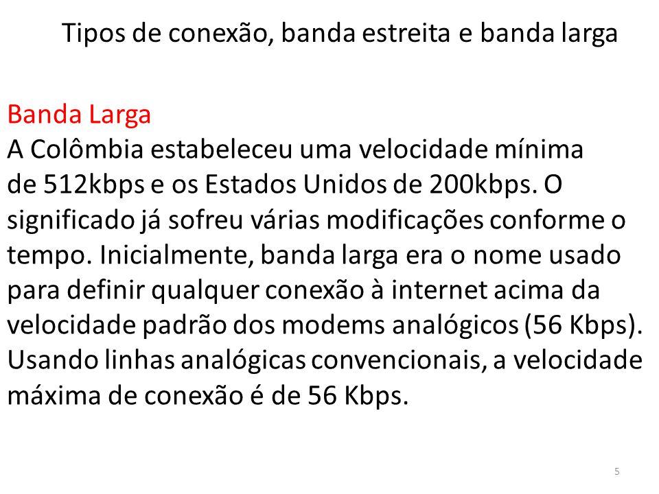 Banda Larga A Colômbia estabeleceu uma velocidade mínima de 512kbps e os Estados Unidos de 200kbps. O significado já sofreu várias modificações confor