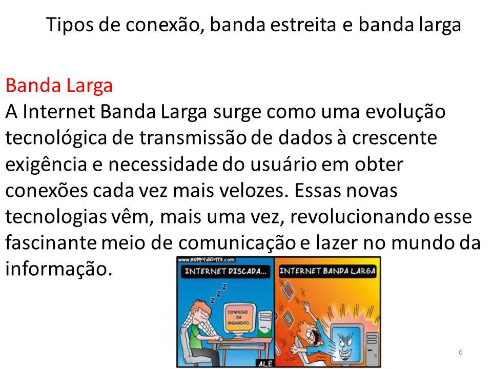 Banda Larga A Internet Banda Larga surge como uma evolução tecnológica de transmissão de dados à crescente exigência e necessidade do usuário em obter
