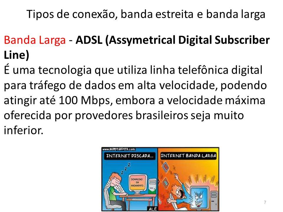 Banda Larga - ADSL (Assymetrical Digital Subscriber Line) É uma tecnologia que utiliza linha telefônica digital para tráfego de dados em alta velocidade, podendo atingir até 100 Mbps, embora a velocidade máxima oferecida por provedores brasileiros seja muito inferior.