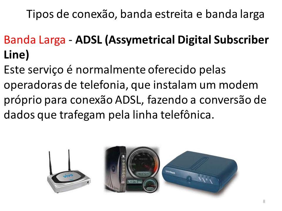 Banda Larga - ADSL (Assymetrical Digital Subscriber Line) Este serviço é normalmente oferecido pelas operadoras de telefonia, que instalam um modem próprio para conexão ADSL, fazendo a conversão de dados que trafegam pela linha telefônica.