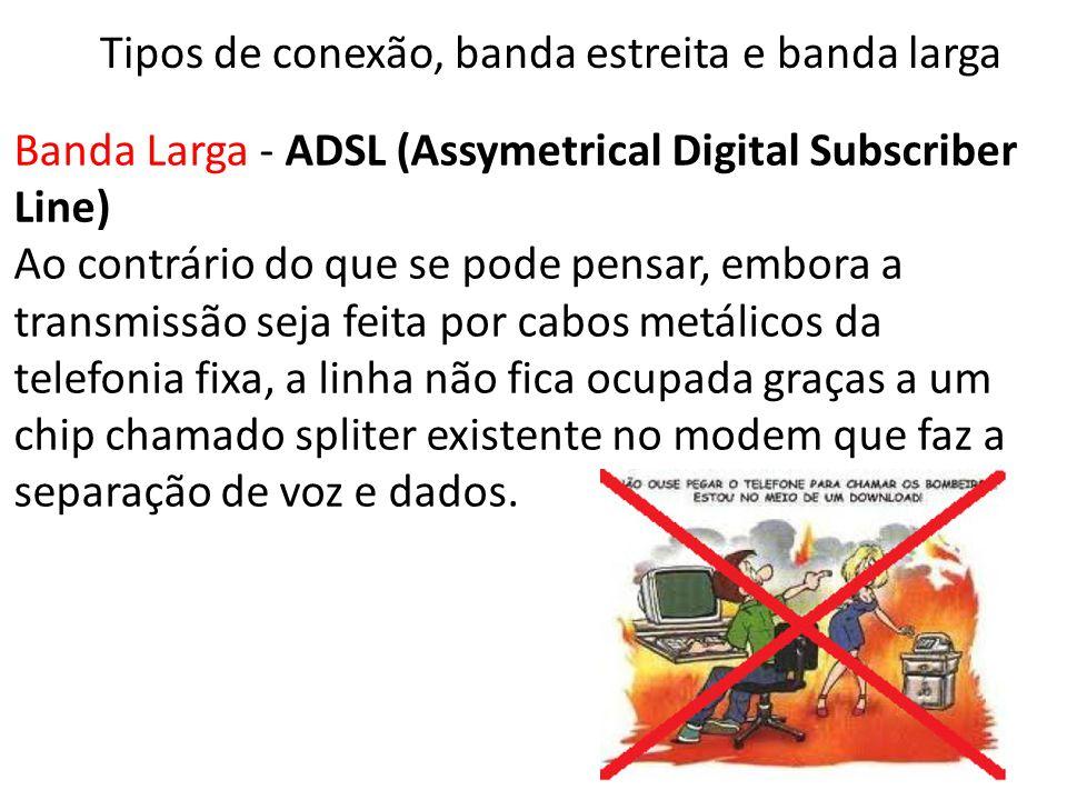 Banda Larga - ADSL (Assymetrical Digital Subscriber Line) Ao contrário do que se pode pensar, embora a transmissão seja feita por cabos metálicos da telefonia fixa, a linha não fica ocupada graças a um chip chamado spliter existente no modem que faz a separação de voz e dados.