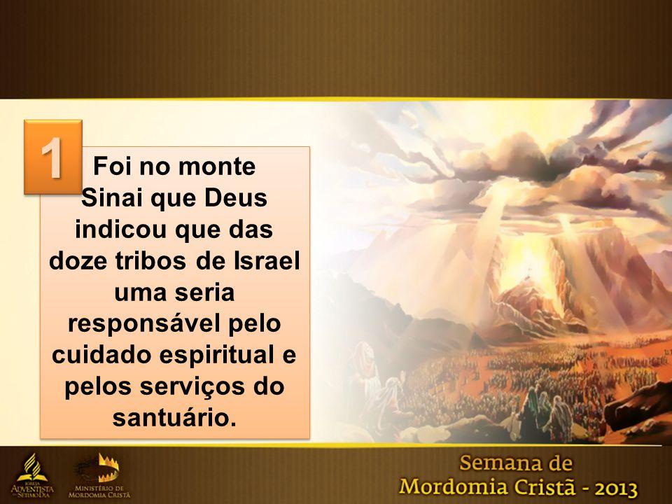 Foi no monte Sinai que Deus indicou que das doze tribos de Israel uma seria responsável pelo cuidado espiritual e pelos serviços do santuário. Foi no