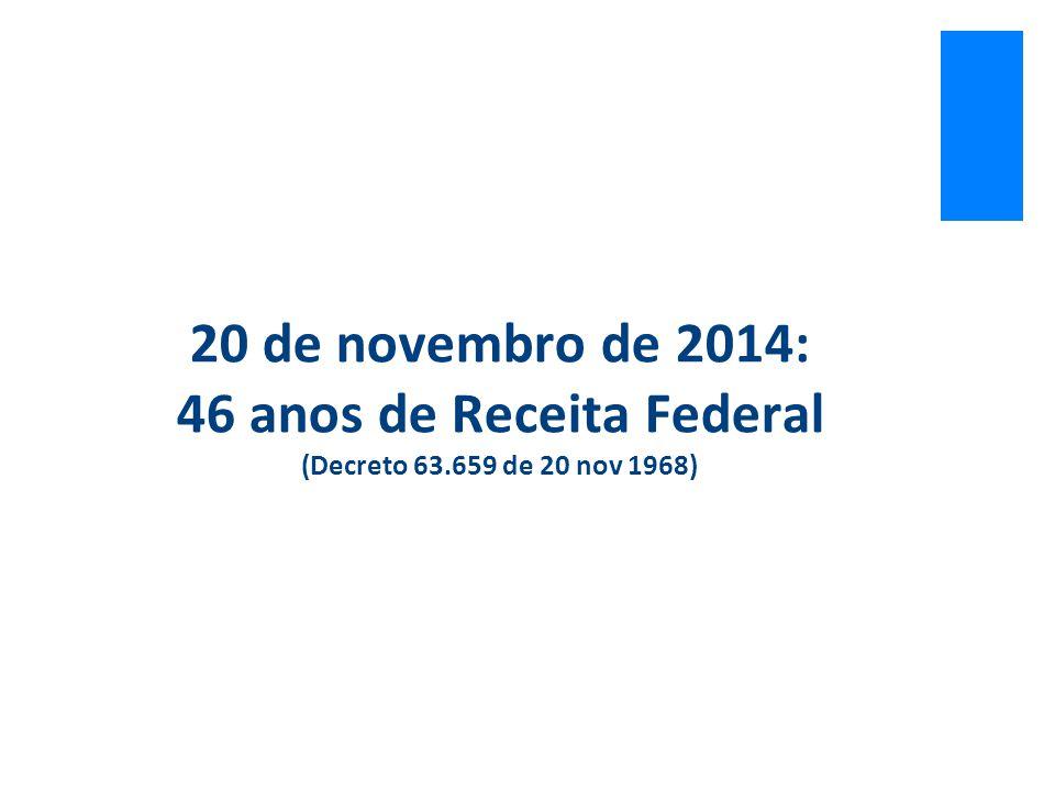 20 de novembro de 2014: 46 anos de Receita Federal (Decreto 63.659 de 20 nov 1968)