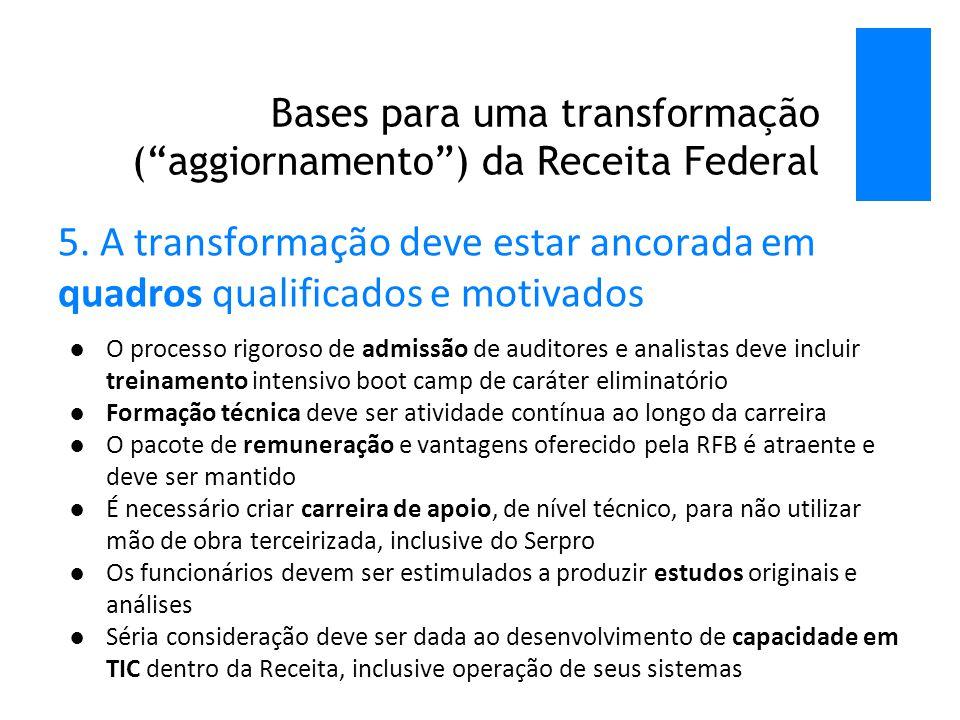Bases para uma transformação ( aggiornamento ) da Receita Federal 5.