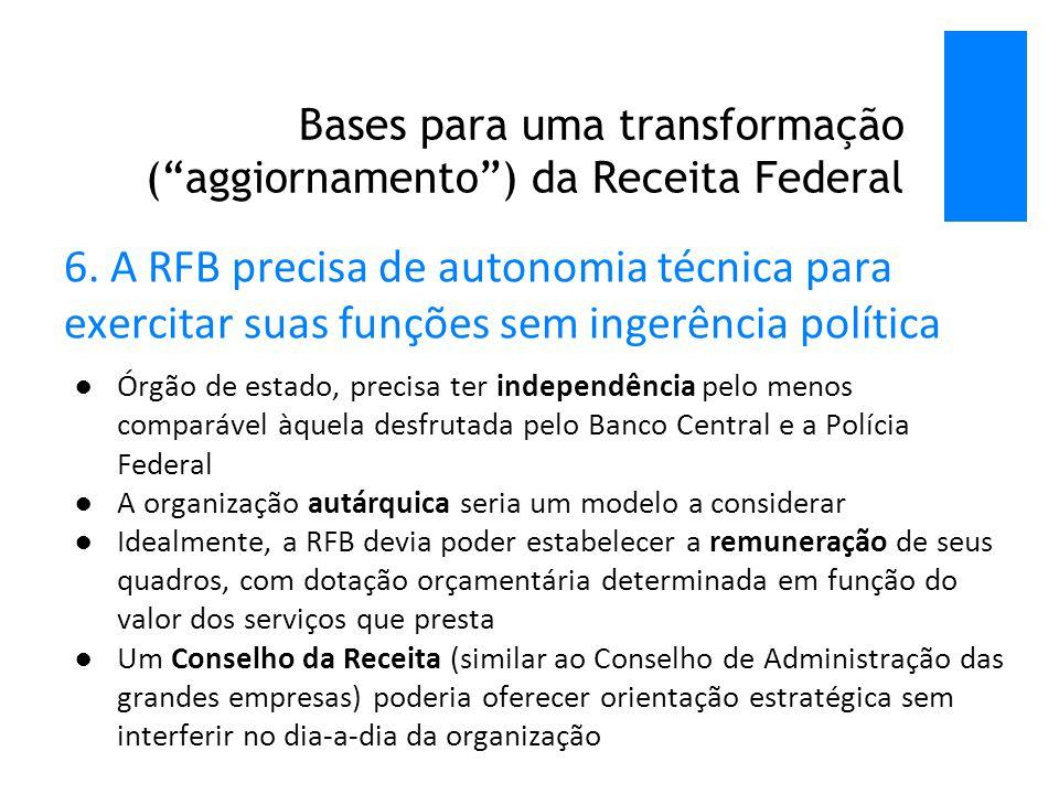 Bases para uma transformação ( aggiornamento ) da Receita Federal 6.