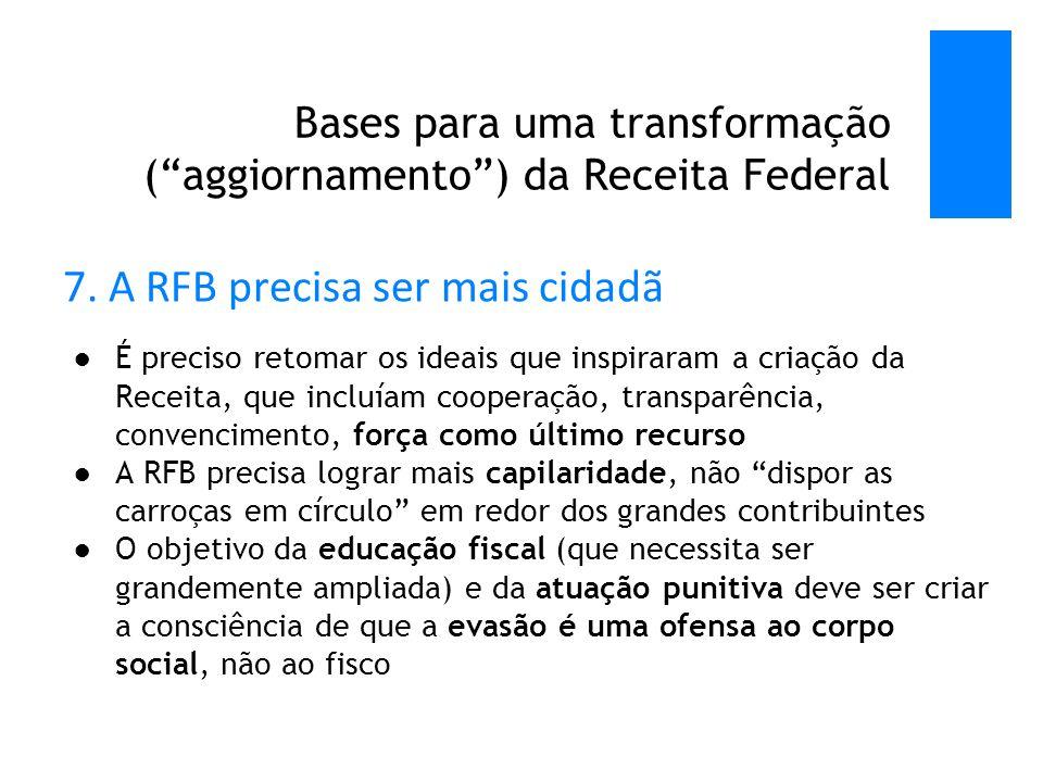 Bases para uma transformação ( aggiornamento ) da Receita Federal 7.