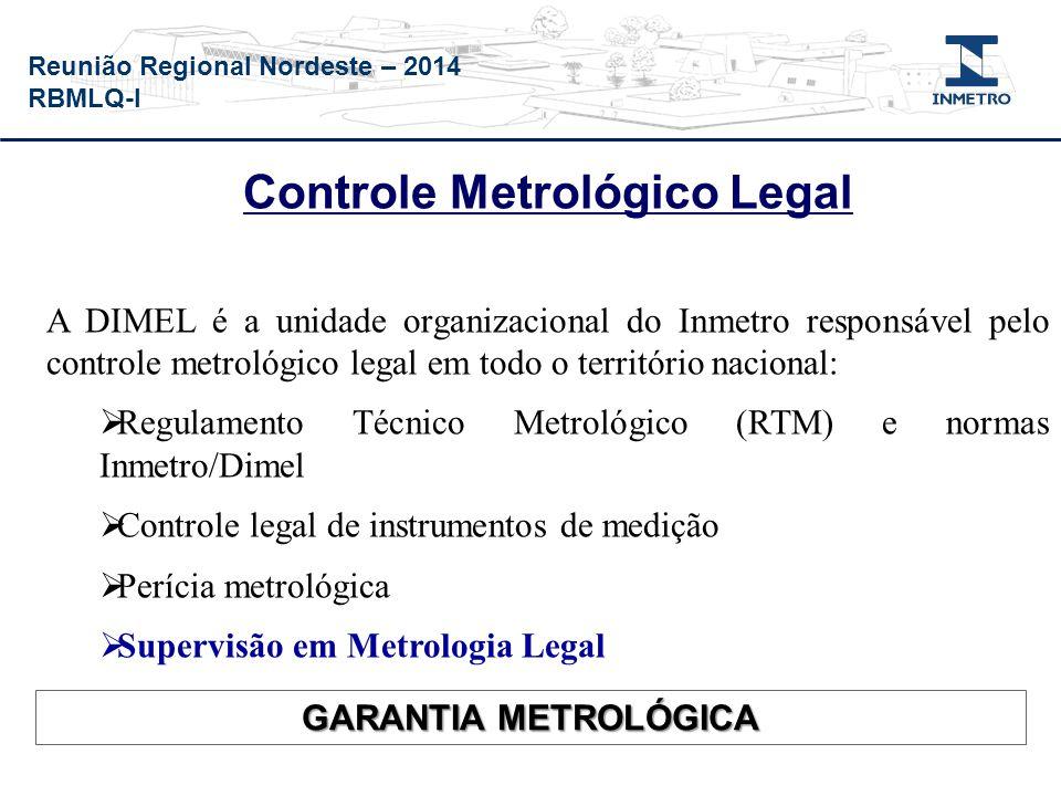 Reunião Regional Nordeste – 2014 RBMLQ-I Controle Metrológico Legal A DIMEL é a unidade organizacional do Inmetro responsável pelo controle metrológic