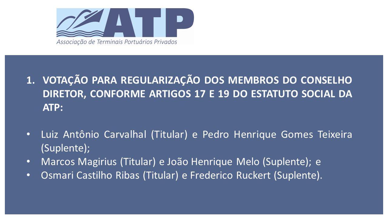 1.VOTAÇÃO PARA REGULARIZAÇÃO DOS MEMBROS DO CONSELHO DIRETOR, CONFORME ARTIGOS 17 E 19 DO ESTATUTO SOCIAL DA ATP: Luiz Antônio Carvalhal (Titular) e Pedro Henrique Gomes Teixeira (Suplente); Marcos Magirius (Titular) e João Henrique Melo (Suplente); e Osmari Castilho Ribas (Titular) e Frederico Ruckert (Suplente).