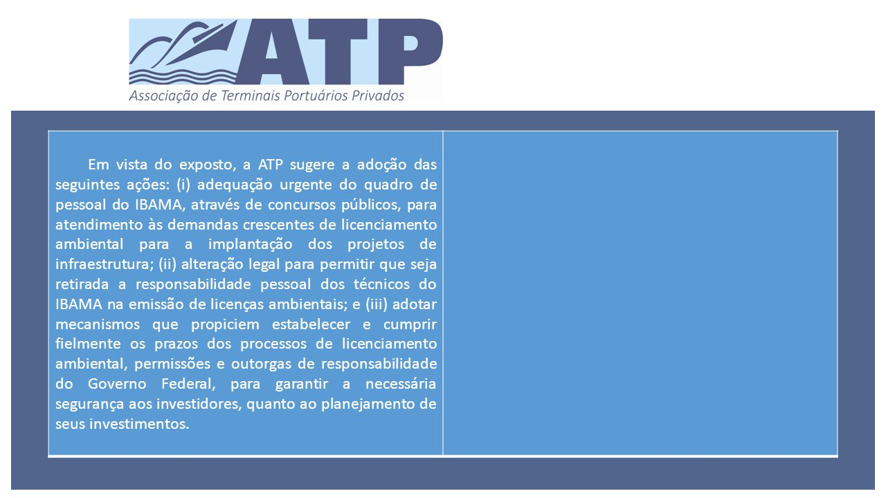 Em vista do exposto, a ATP sugere a adoção das seguintes ações: (i) adequação urgente do quadro de pessoal do IBAMA, através de concursos públicos, para atendimento às demandas crescentes de licenciamento ambiental para a implantação dos projetos de infraestrutura; (ii) alteração legal para permitir que seja retirada a responsabilidade pessoal dos técnicos do IBAMA na emissão de licenças ambientais; e (iii) adotar mecanismos que propiciem estabelecer e cumprir fielmente os prazos dos processos de licenciamento ambiental, permissões e outorgas de responsabilidade do Governo Federal, para garantir a necessária segurança aos investidores, quanto ao planejamento de seus investimentos.