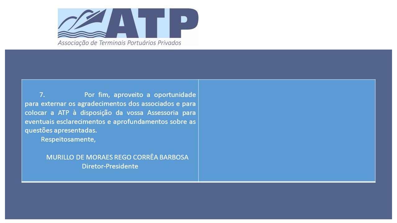 7.Por fim, aproveito a oportunidade para externar os agradecimentos dos associados e para colocar a ATP à disposição da vossa Assessoria para eventuais esclarecimentos e aprofundamentos sobre as questões apresentadas.