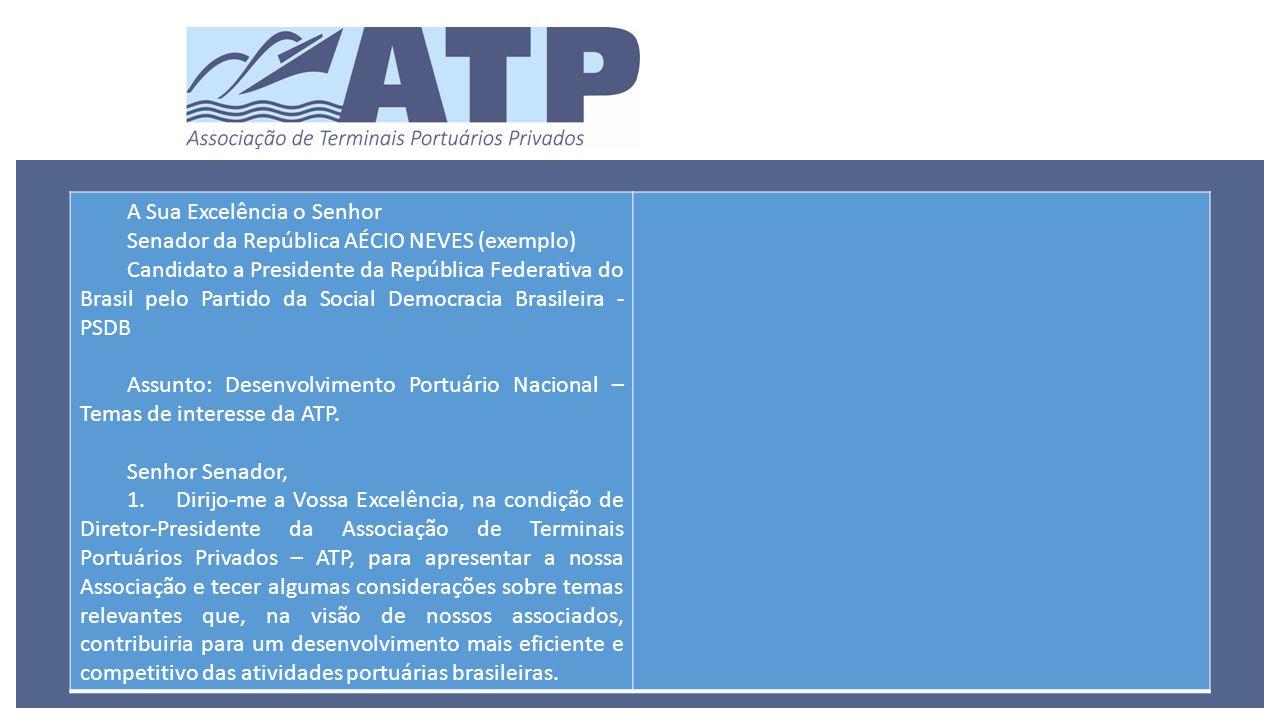 A Sua Excelência o Senhor Senador da República AÉCIO NEVES (exemplo) Candidato a Presidente da República Federativa do Brasil pelo Partido da Social Democracia Brasileira - PSDB Assunto: Desenvolvimento Portuário Nacional – Temas de interesse da ATP.