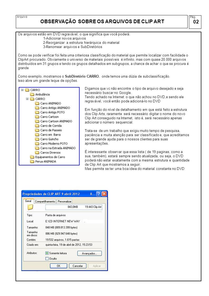 Pág. 02 Arquivo OBSERVAÇÃO SOBRE OS ARQUIVOS DE CLIP ART Os arquivos estão em DVD regravável, o que significa que você poderá: 1-Adicionar novos arqui
