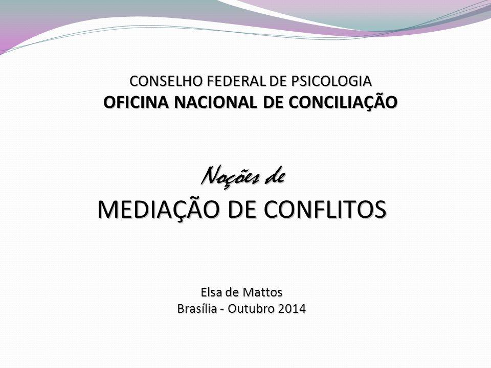 CONSELHO FEDERAL DE PSICOLOGIA OFICINA NACIONAL DE CONCILIAÇÃO Noções de MEDIAÇÃO DE CONFLITOS Elsa de Mattos Brasília - Outubro 2014