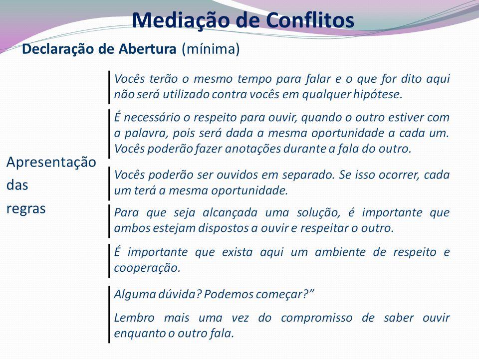 Declaração de Abertura (mínima) Apresentação das regras Mediação de Conflitos