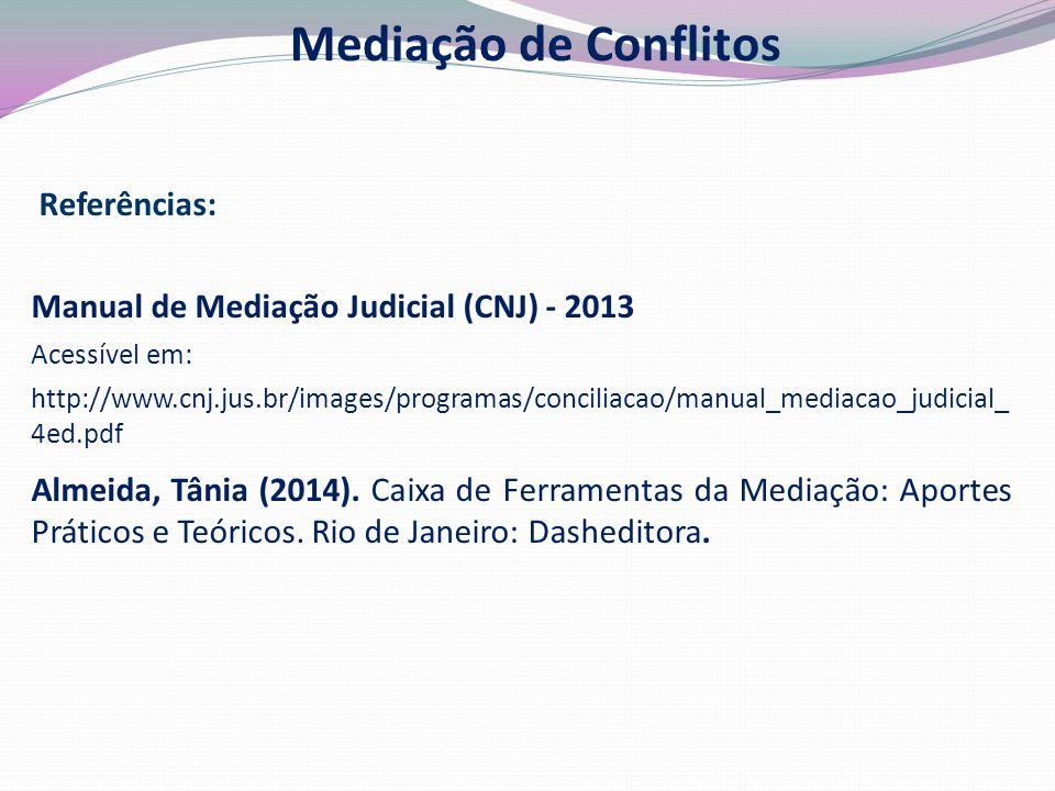 Manual de Mediação Judicial (CNJ) - 2013 Acessível em: http://www.cnj.jus.br/images/programas/conciliacao/manual_mediacao_judicial_ 4ed.pdf Almeida, Tânia (2014).